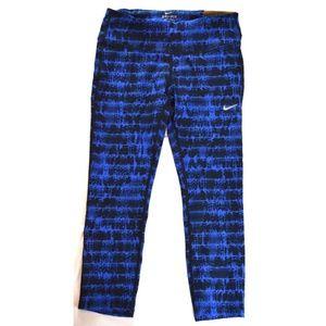 Nike Printed Epic Run Gym Crops Pants Stealth Blue